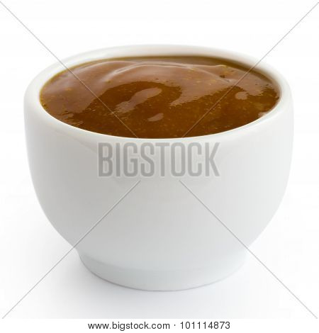 Small White Pot Of Curry Sauce Dip, In Perspective Isolated On White.