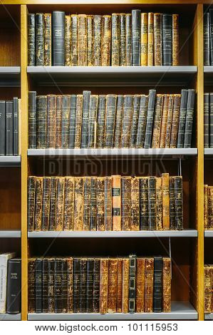 Old Russian Books On A Shelfs In The National Library of Finland