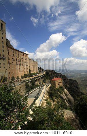 Railway Track Of Montserrat Cremallera Train In Benedictine Abbey Santa Maria De Montserrat In Monis