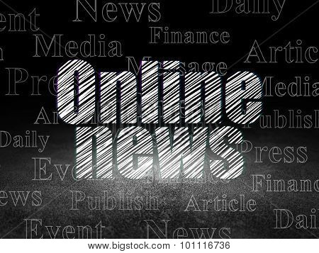News concept: Online News in grunge dark room