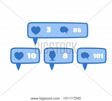Like, follower and comment social media blue button signs