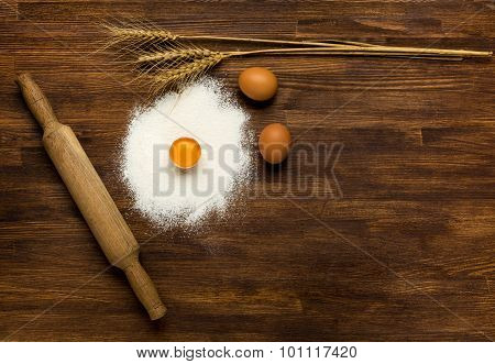 Close-up overhead shot of cookie ingredient on wooden table