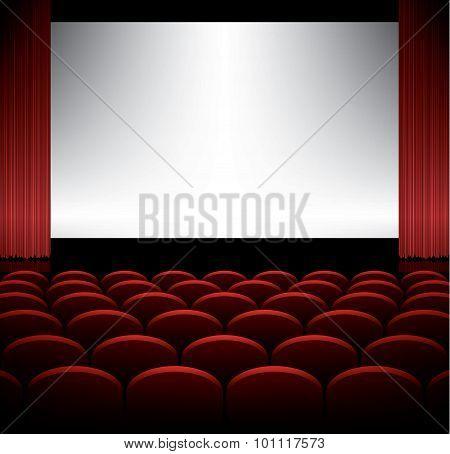 Cinema Auditorium With Screen Vector Background