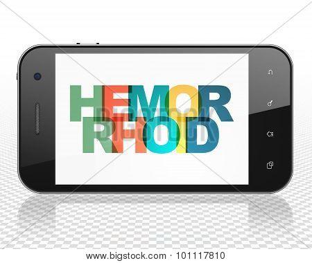Medicine concept: Smartphone with Hemorrhoid on  display