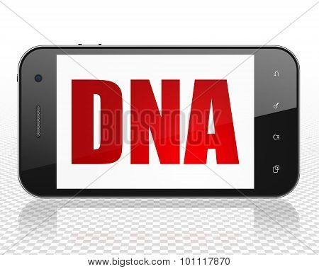 Medicine concept: Smartphone with DNA on display