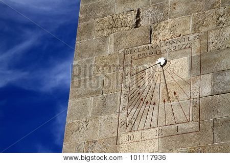 Sundial On A Wall In Castle Of Montjuic In Barcelona, Spain