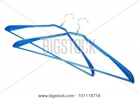 blue coat hanger on a white background