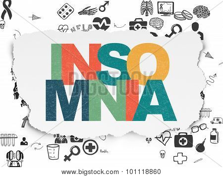 Medicine concept: Insomnia on Torn Paper background