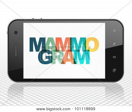 Medicine concept: Smartphone with Mammogram on  display
