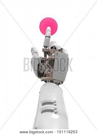 artificial hand presses the button