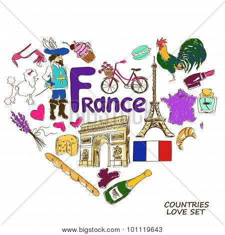 French Symbols In Heart Shape Concept.