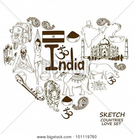 Indian Symbols In Heart Shape Concept