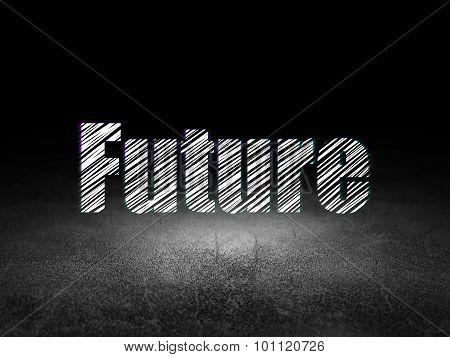 Timeline concept: Future in grunge dark room