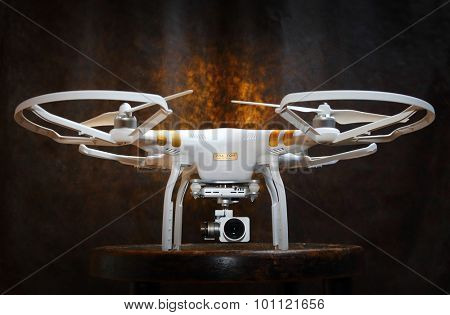 PILSEN CZECH REPUBLIC - SEPTEMBER 9, 2015: Drone quadrocopter Dji Phantom 3 Professional with high resolution digital camera (High quality 4K). New tool for aerial photo and video.