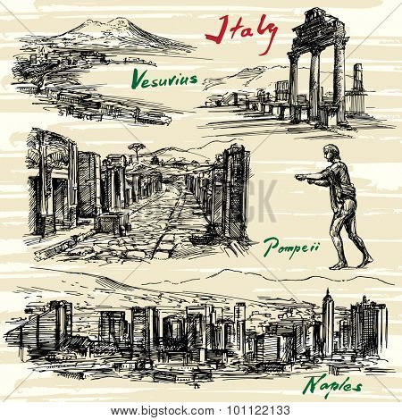 Italy- Naples, Pompeii - hand drawn set