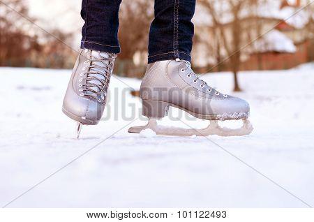 Figure skates on a skating-rink