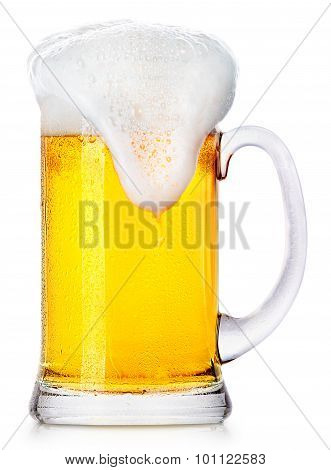 Frosty fresh beer with foam