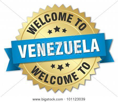 Venezuela 3D Gold Badge With Blue Ribbon