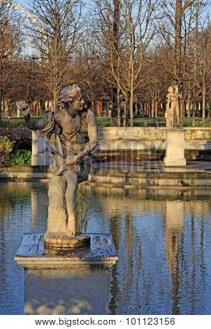 Hippomene Statue In Tuileries Garden, Paris, France