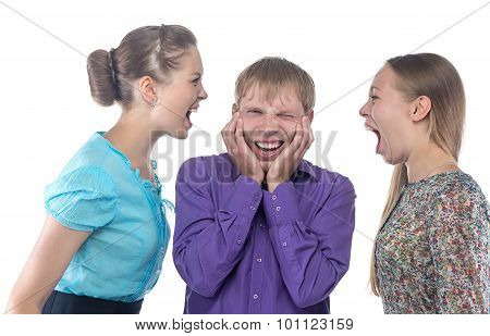 Man and two blond women