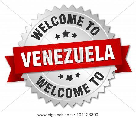 Venezuela 3D Silver Badge With Red Ribbon