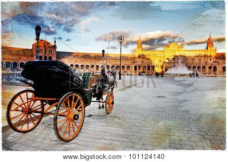 elegant Seville - plazza Espana. Artistic picture