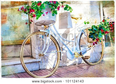 floral bike - artistic picture
