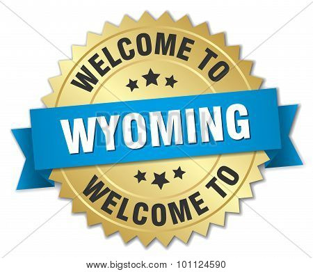 Wyoming 3D Gold Badge With Blue Ribbon