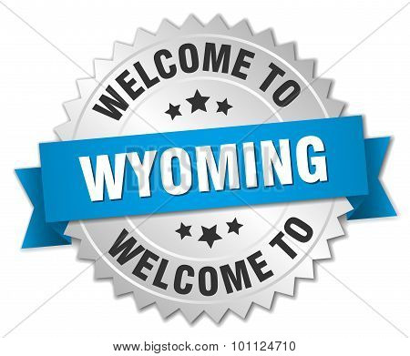 Wyoming 3D Silver Badge With Blue Ribbon