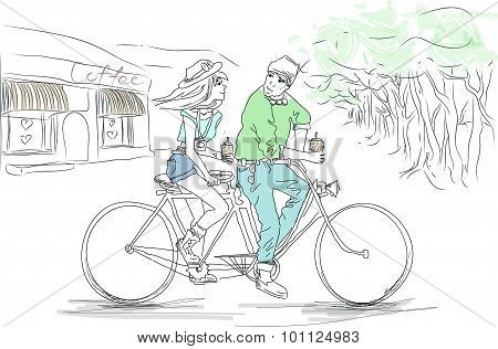 The Boy hipster And The Girl hipster  On A Tandem Bike
