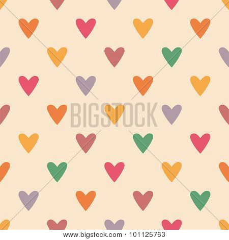 Tile vector pattern with colorful hearts on pastel background