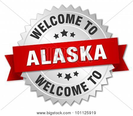 Alaska 3D Silver Badge With Red Ribbon