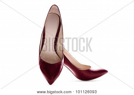Women's Red Shoes On A White Background