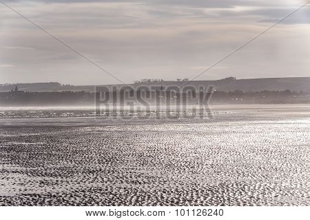 View of St Andrews town from the West sands Fife Scotland