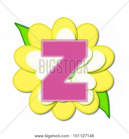 Alphabet Flower Pin Yellow Z