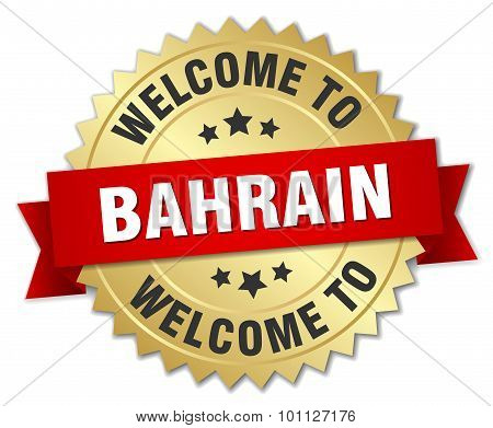 Bahrain 3D Gold Badge With Red Ribbon