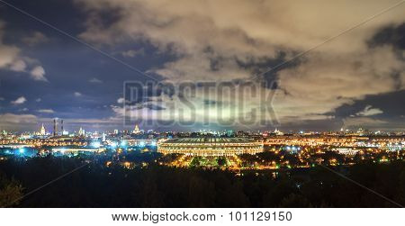 View Of The Luzhniki Olympic Stadium And Night Moscow From Sparrow Hills