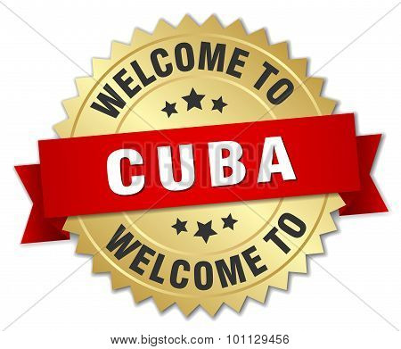 Cuba 3D Gold Badge With Red Ribbon