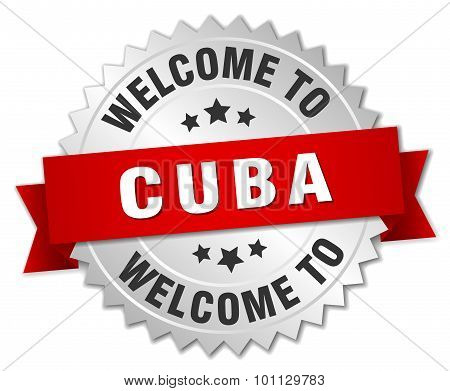 Cuba 3D Silver Badge With Red Ribbon