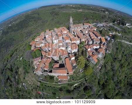 Aerial view on Groznjan, small istrian town.