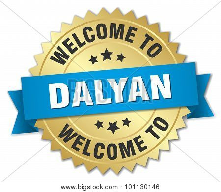 Dalyan 3D Gold Badge With Blue Ribbon