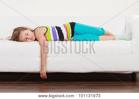 Tired Exhausted Lazy Little Girl Kid Lying On Sofa