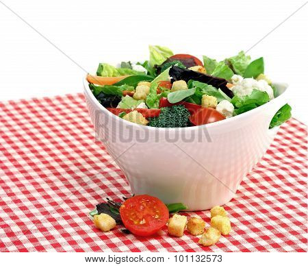 Mixed Vegetable Salad In A White Bowl.  Copy Space.