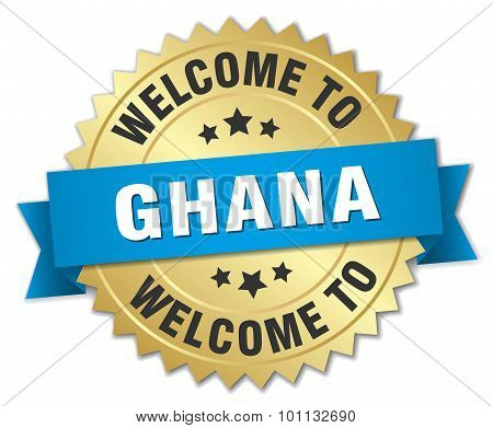 Ghana 3D Gold Badge With Blue Ribbon