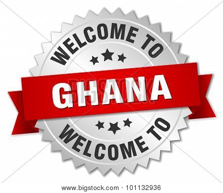 Ghana 3D Silver Badge With Red Ribbon