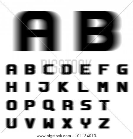 EPS10 vector speed motion blur font alphabet letters