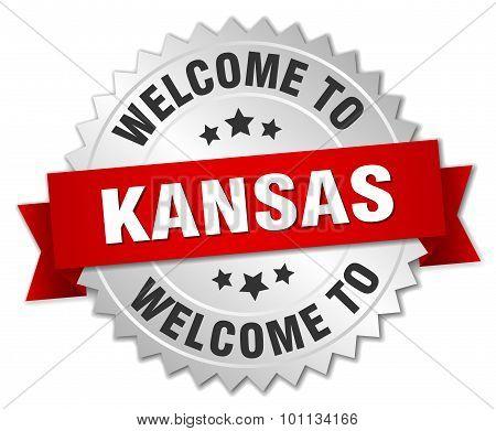 Kansas 3D Silver Badge With Red Ribbon