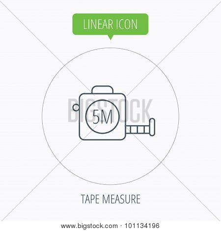 Tape measurement icon. Roll ruler sign.