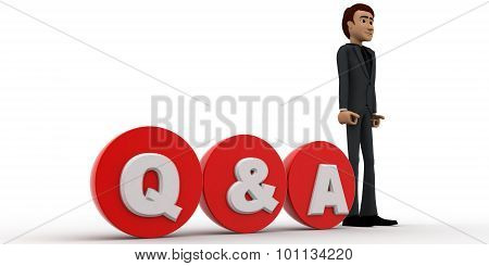 3D Man Standing With Red Circular Blocks Q&a Text Concept