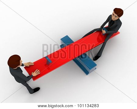 3D Men Sitting On See Saw Concept